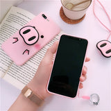 Luxury 3D funny pig nose Pink silicone phone case