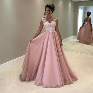 V Neck Lace Long Party Gowns Solid