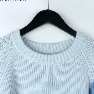 Women O-Neck Knitted Tops Women Jumper Soft