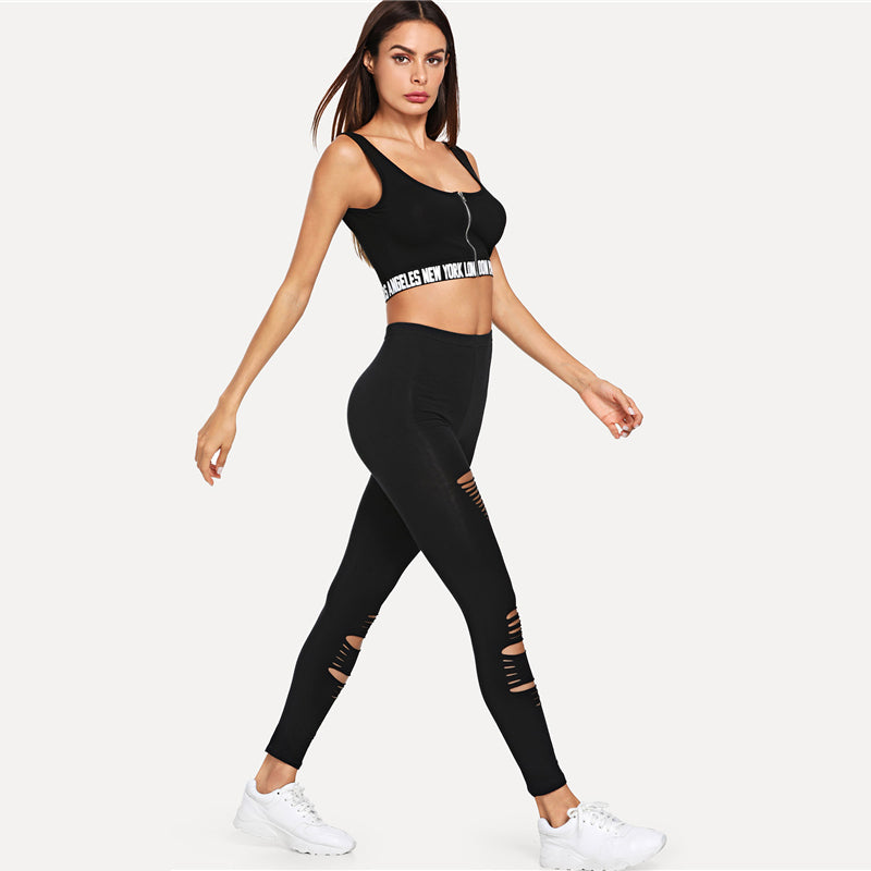 Sporty Ladies Crop Leggings
