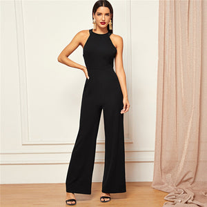 Black Solid Sheer Backless High Waist Wide