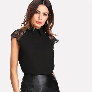 Floral Lace Cap Sleeve Blouse Black