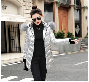 Winter Coat Women Fake Fur Collar Warm