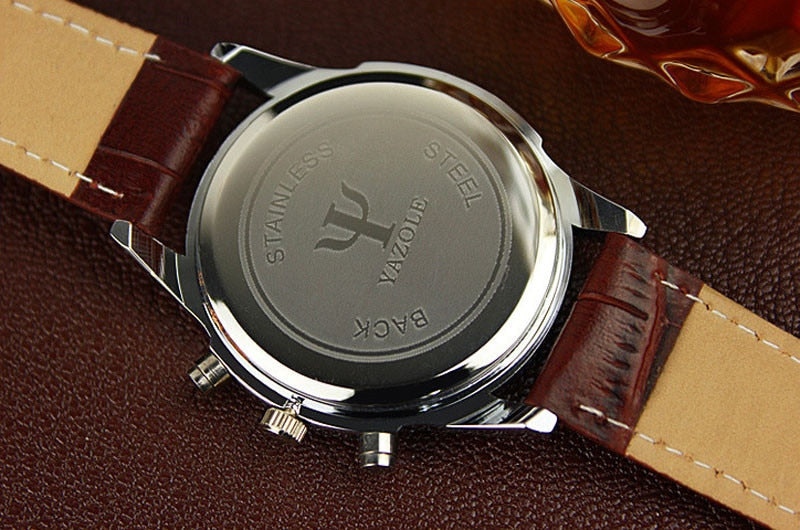 Faux Leather Mens Analog  Watches