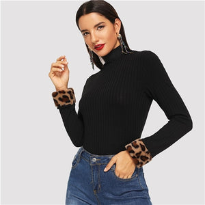 Leopard Print Fur Cuff Slim Fitted High Neck Top
