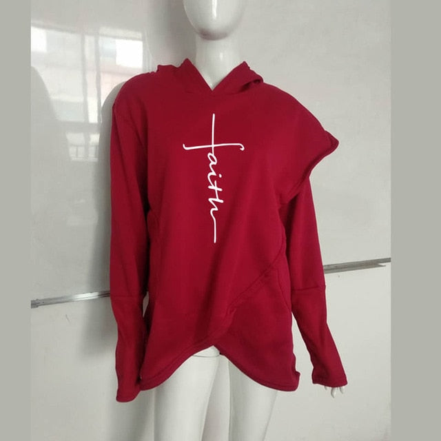 Faith Print  Sweatshirt Hoodies Women