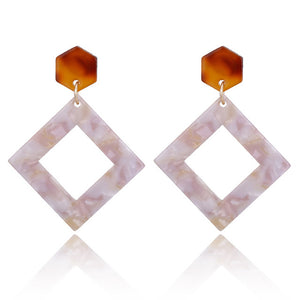 Square Hanging Drop Pendant Earring