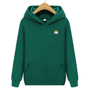 Winter Pocket Cat Letter Printed Hoodies Men