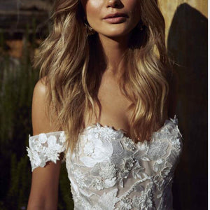 Off the Shoulder Appliques A Line Bride Dress