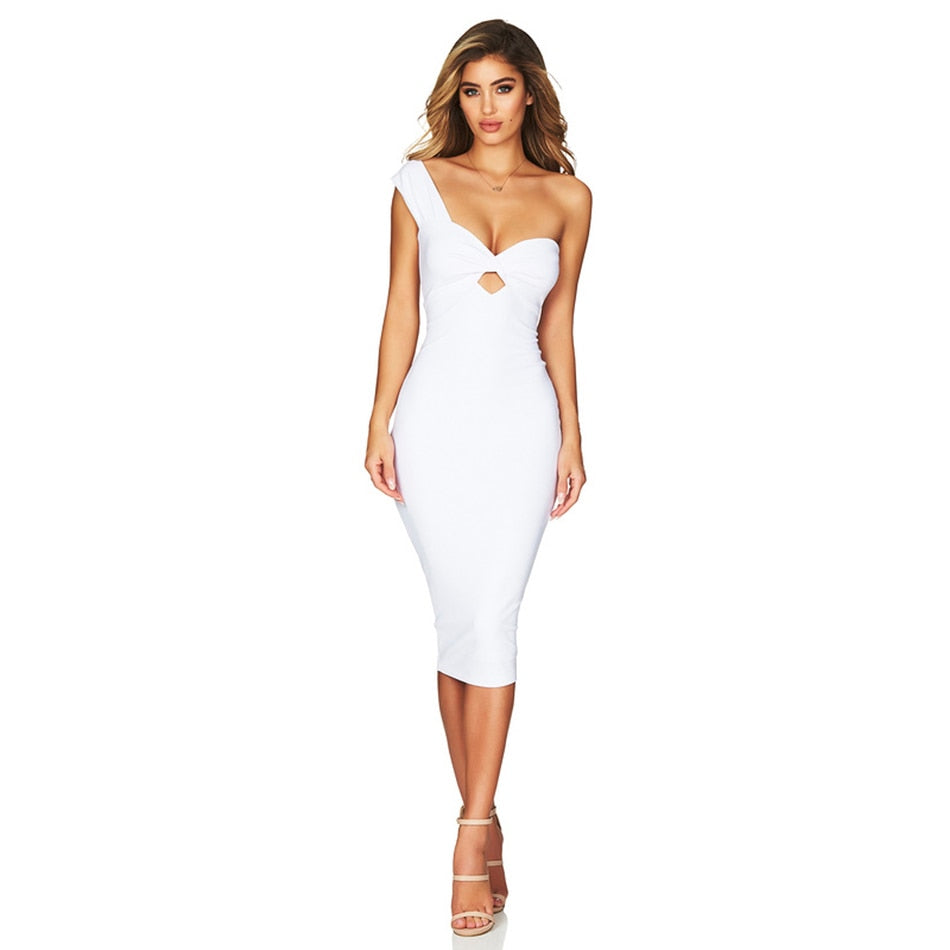 One Shoulder Hollow Out Clubwear Dress