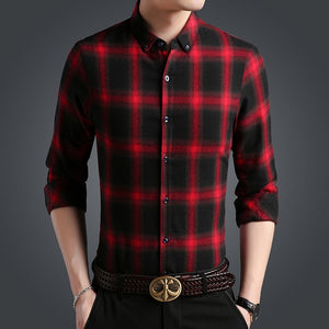 Casual Slim Fit Plaid Shirt Men