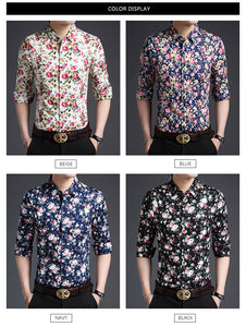 Mens Floral Regular Fit Streetwear shirt
