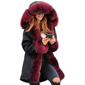 Winter Jacket Women Cotton Wadded Fur Hooded