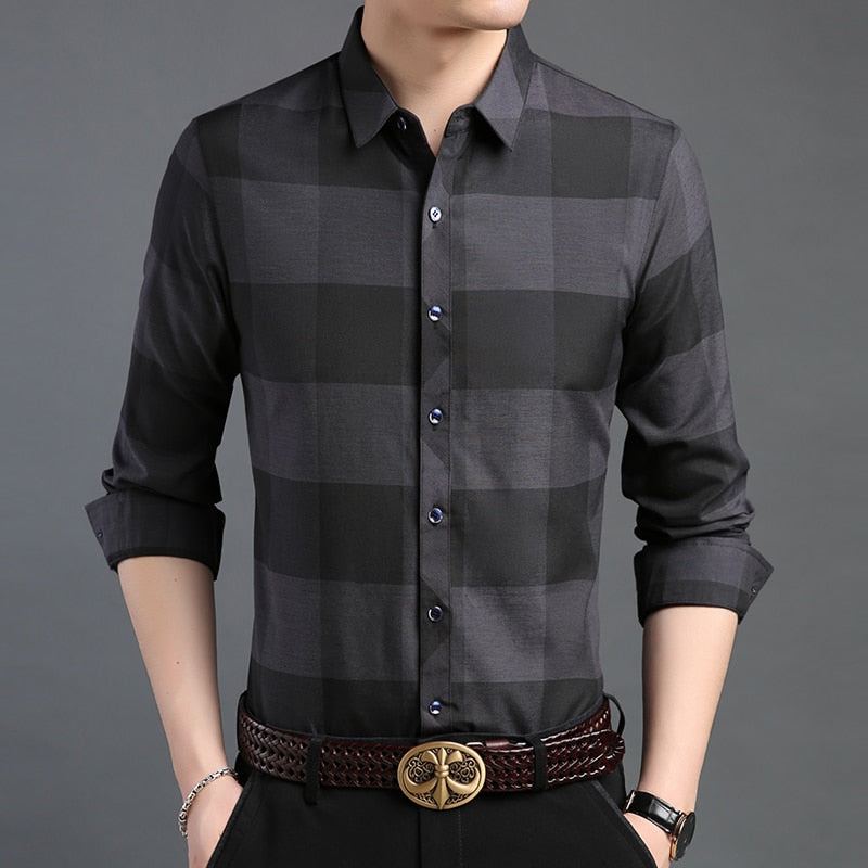 Man Plaid Slim Fit Street Wear Shirts - Narvay.com