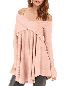 Cold Shoulder Crisscross Tunic Sweaters