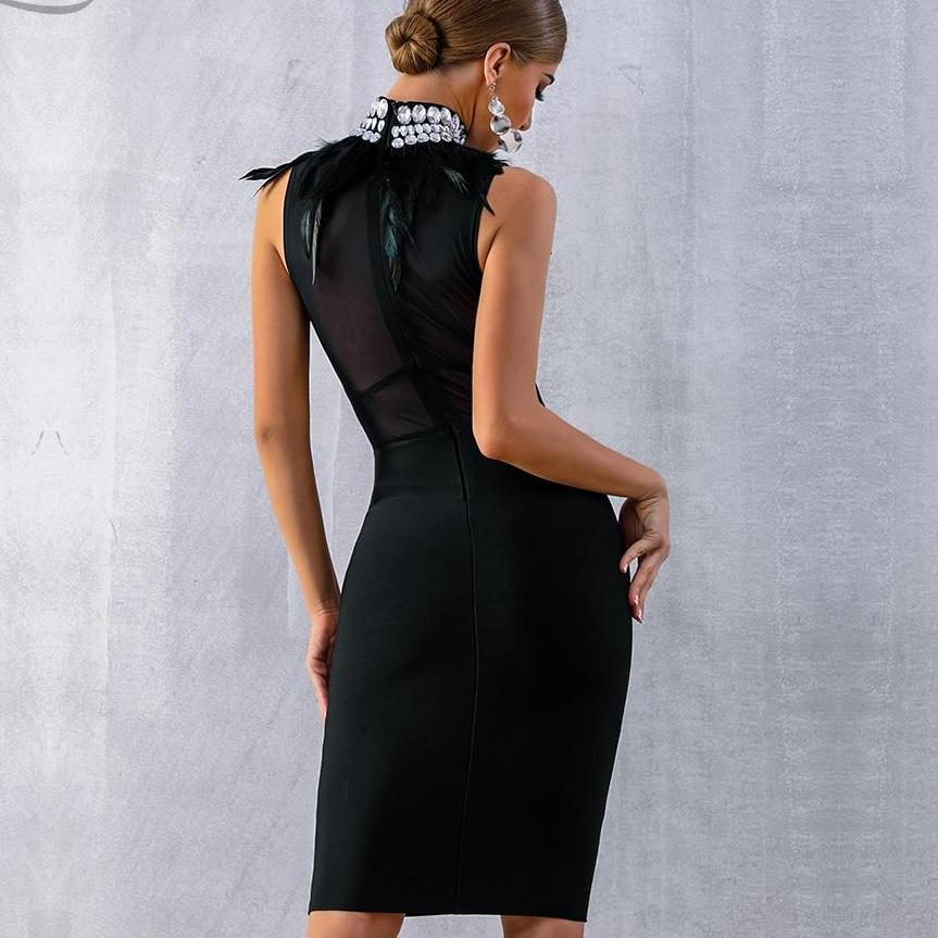 Bandage Dress Black Feather Bead Club - Narvay.com