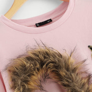 Faux Fur Fox Patch Sweatshirt Tops