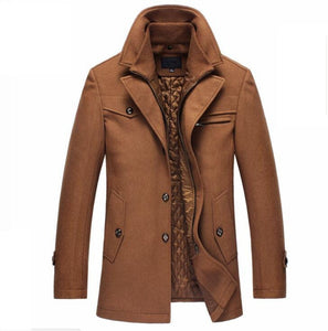 Winter Wool Coat Slim Fit Jackets Mens Casual
