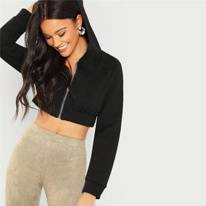 Casual Zip Up Crop Hoodie Crop Tops