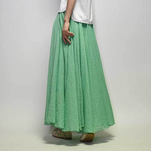 Linen Cotton Long Skirts Elastic