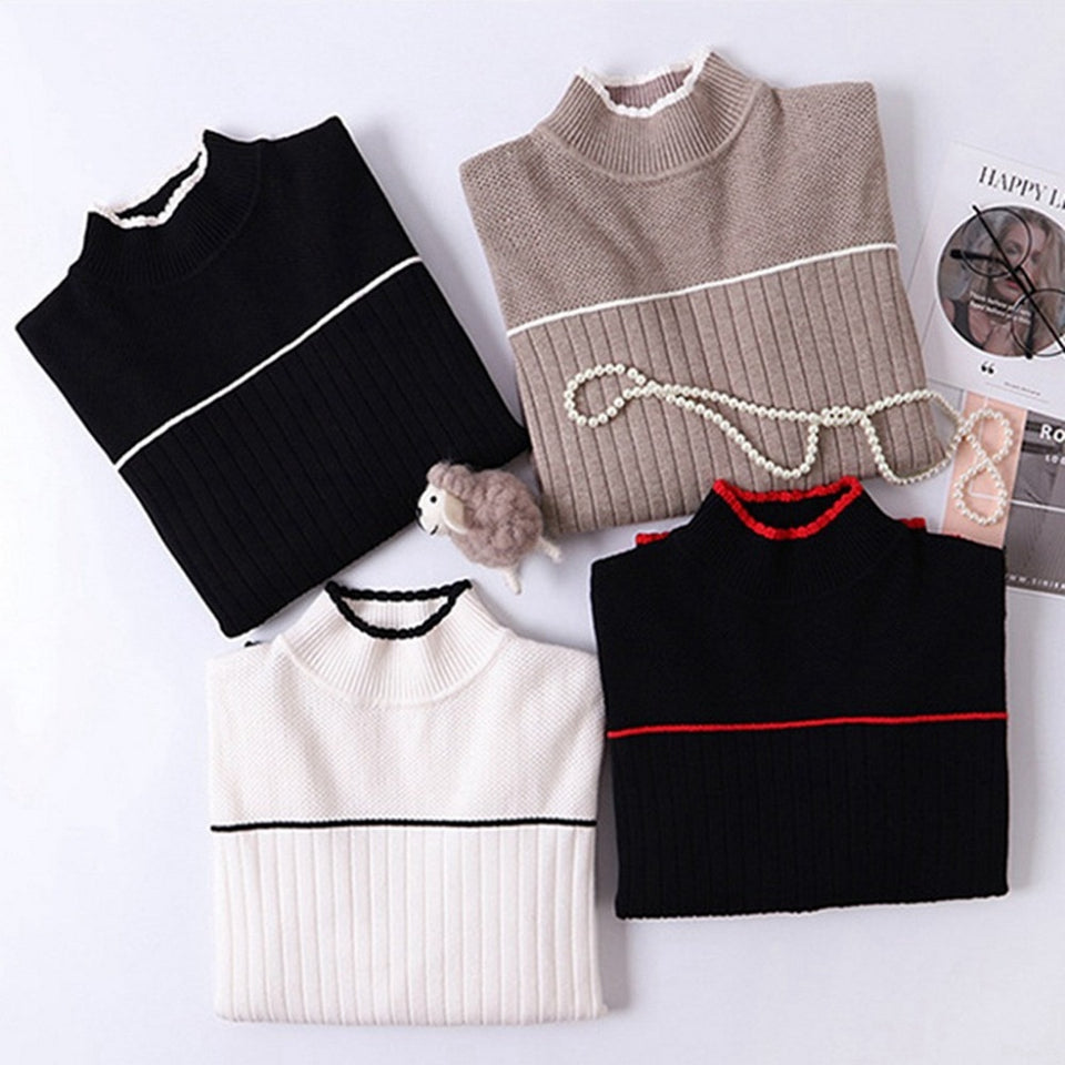 Women Sweater Color Block Ribbed