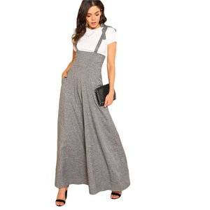 Wide Leg Jumpsuit Grey Sleeveless High