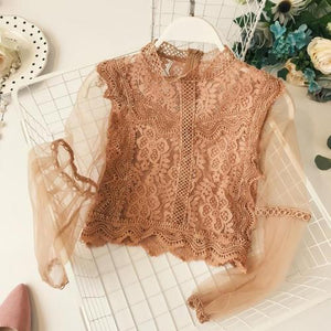 Mesh Lace Hook Flower Lantern Blouse