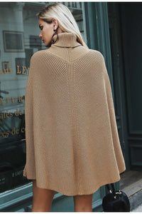 Simplee Knitted turtleneck cloak sweater