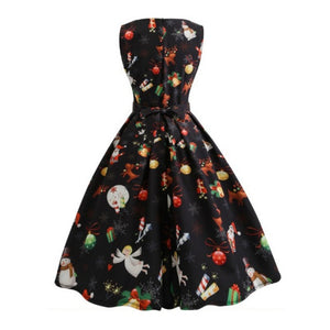 New Year Snowman Printed Dress