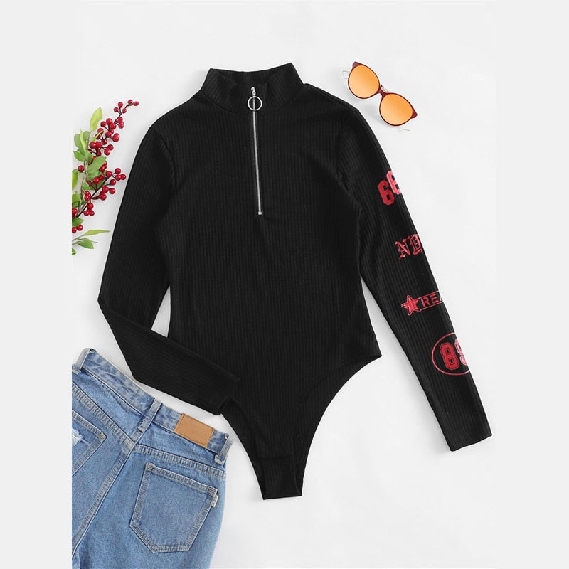 Letter Print Ribbed Zip Up Ring Bodysuit