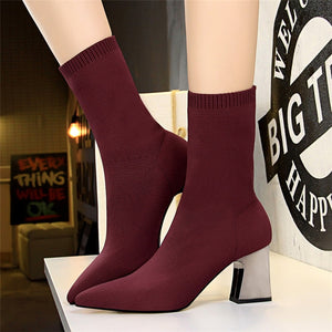 Elastic Stretch Boots Sock Heels