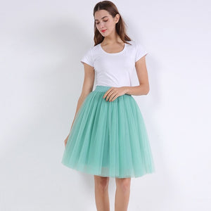 Princess Midi Tulle Skirt Pleated Dance