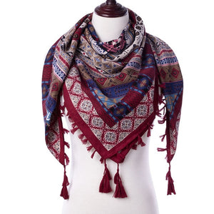 Tassel Scarf Women Printed Wraps
