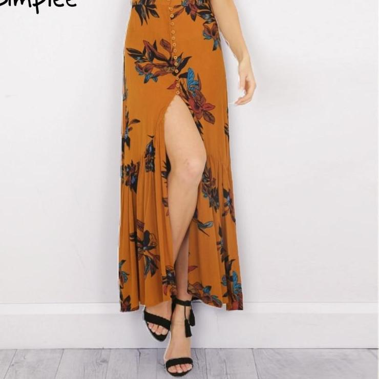 High waist print long skirt Women