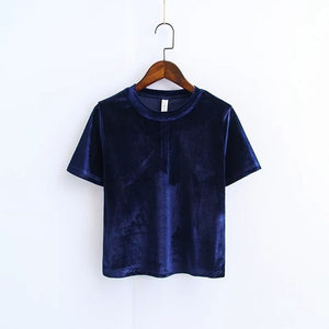 Summer Velvet Crop Tops Women T Shirt - Narvay.com