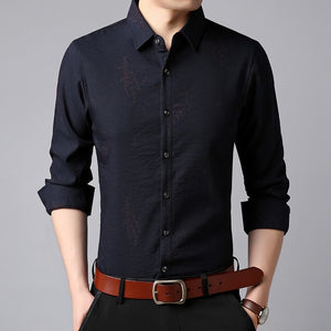 Shirts Mens Korean Print Long Sleeve
