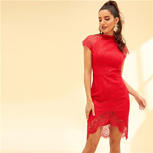 Mock-Neck Party Lace Dress Women