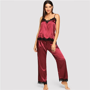 Eyelash Lace Satin Cami Pajama Set Women