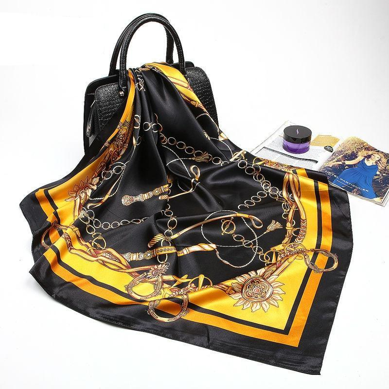 Print Silk Satin Scarf For Ladies