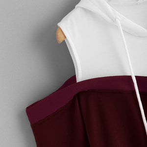 Cold Shoulder Drawstring Hoodie