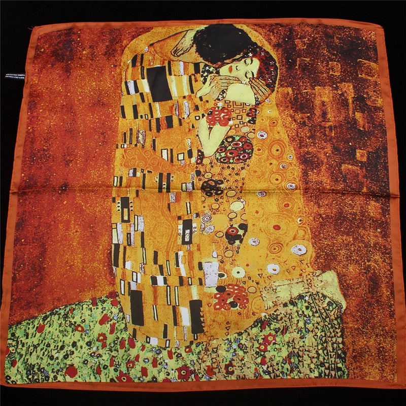 Oil Painting Kiss Silk Scarf