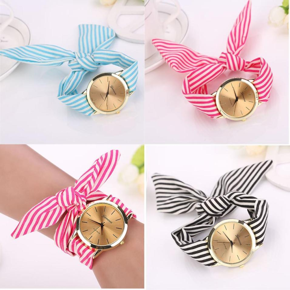 women watches Stripe Floral Cloth Band Clock