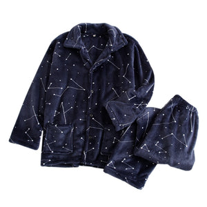 Winter thicken fashion starry sky pajama sets