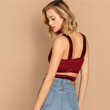 Strap Crisscross Velvet Party Crop Top