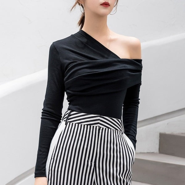b4e3b111a87b3 Buy Women s Sexy Slim Fit Stretchy Off Shoulder Long Sleeve Blouse Tops  Shirt and other Blouses   Button-Down Shirts at Narvay.com.Women Off  Shoulder T ...