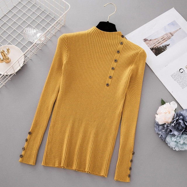 Women Button Turtleneck Sweater Knitted Pullover