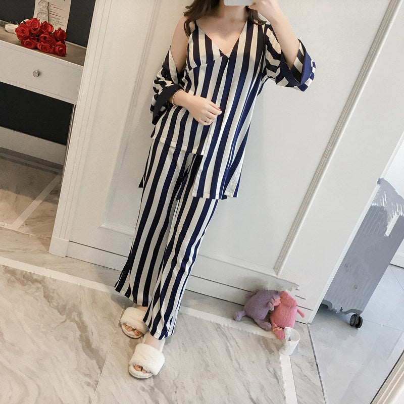 3 PCS Robe Pajamas Trousers Sets Women - Narvay.com