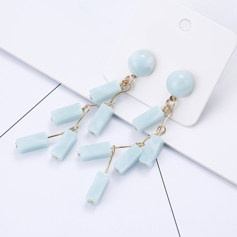 Feng Trend Geometric Acrylic Long Dangles For Women