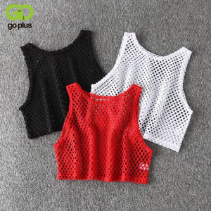 Hollow Out Mesh T-shirt Female Loose Crop Top