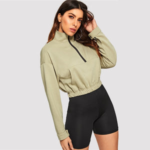 Zip Half Placket Pocket Front Sweatshirt